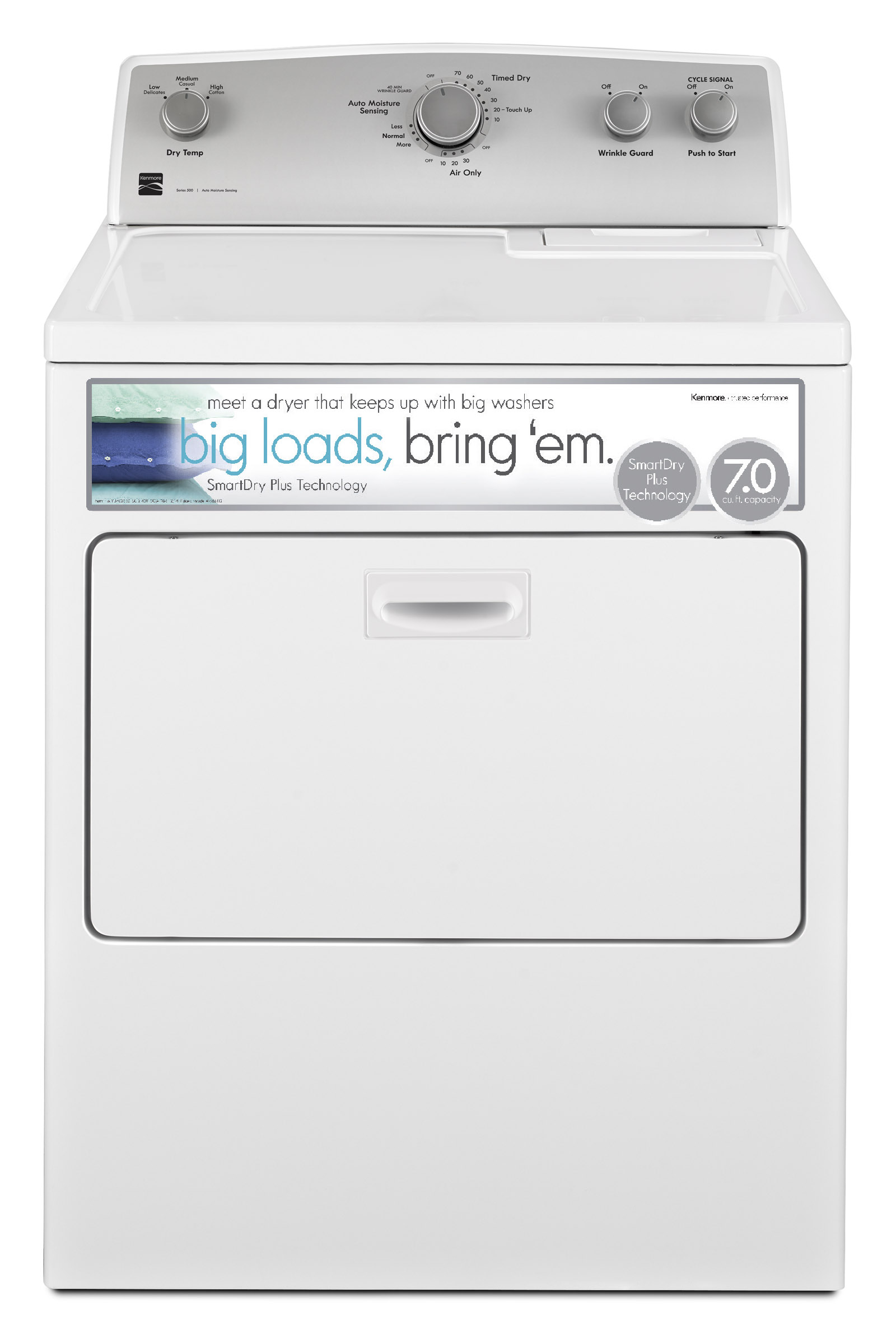 Kenmore 65132 7.0 cu. ft. Electric Dryer w/ SmartDry Plus Technology - White