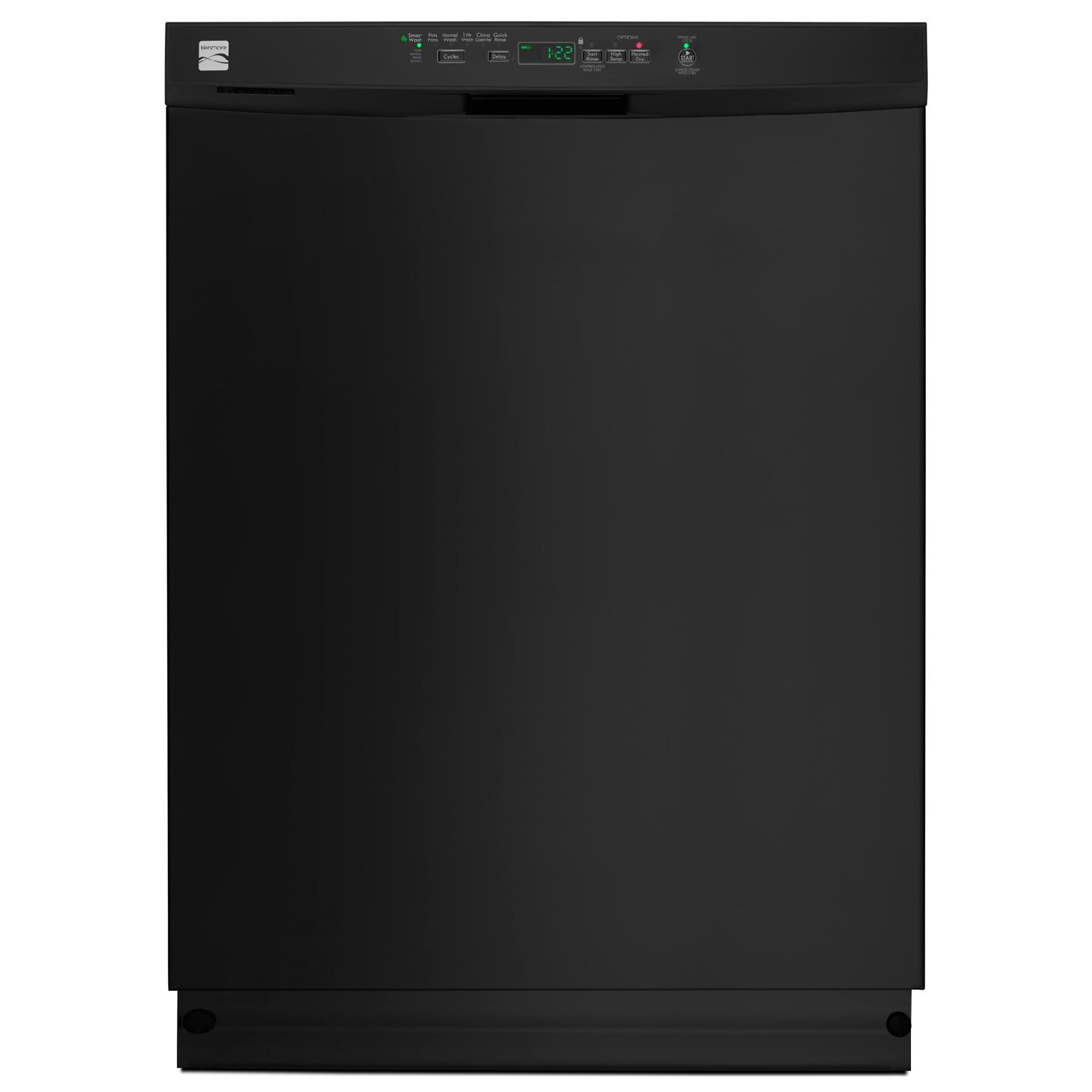 Kenmore 13099 Dishwasher with Power Wave Spray Arm/Nylon Racks - Black Exterior with Grey Plastic Tub at 53 dBa