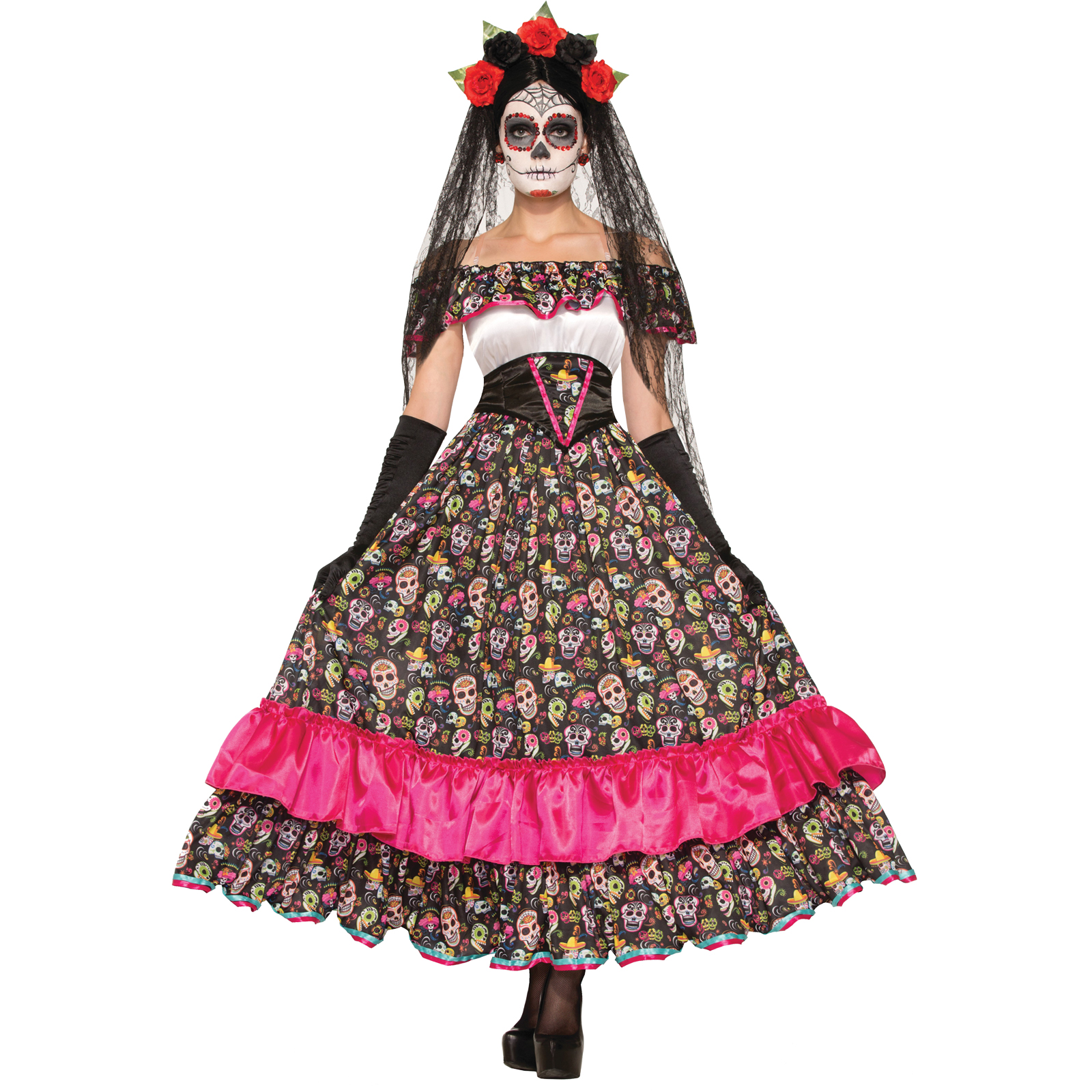 Women's Day Of Dead Spanish Lady Costume Size: One Size Fits Most PartNumber: 05012606000P KsnValue: 7500082 MfgPartNumber: FM74798