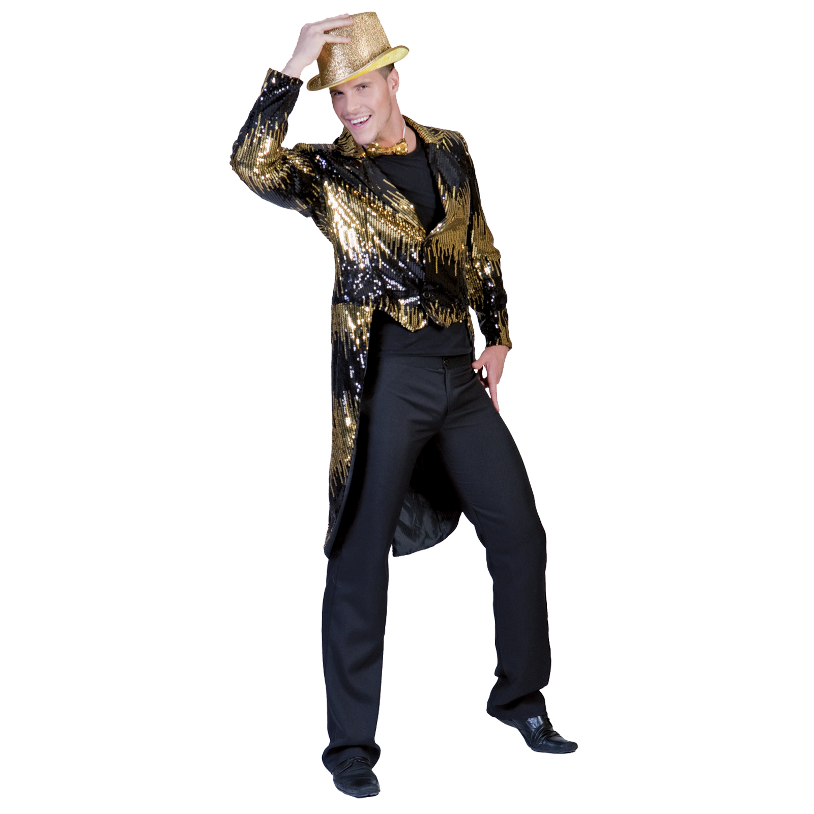 mens glitter tailcoat gold halloween costume