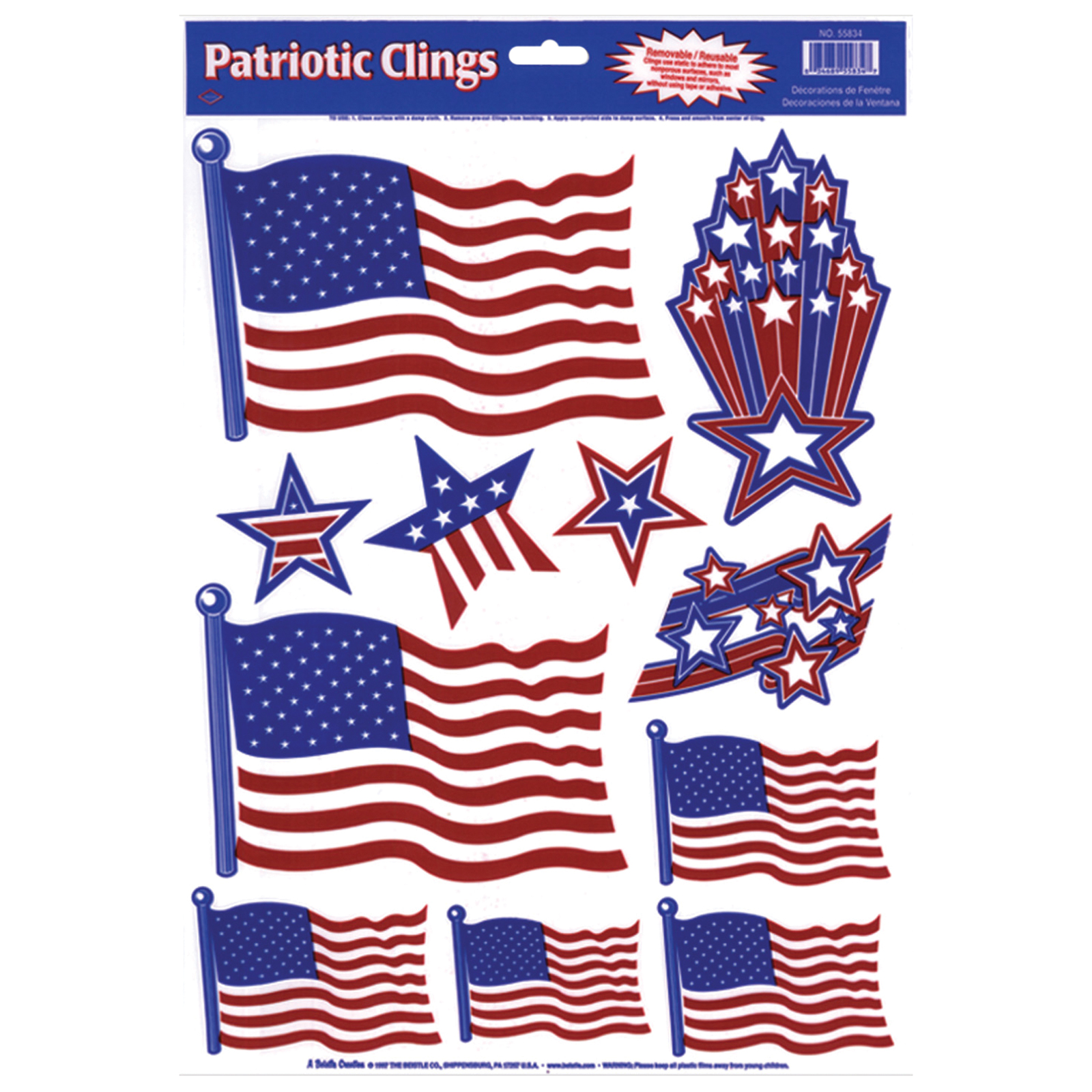 Image of THE BEISTLE COMPANY 11 ct. Patriotic Static Cling Decals