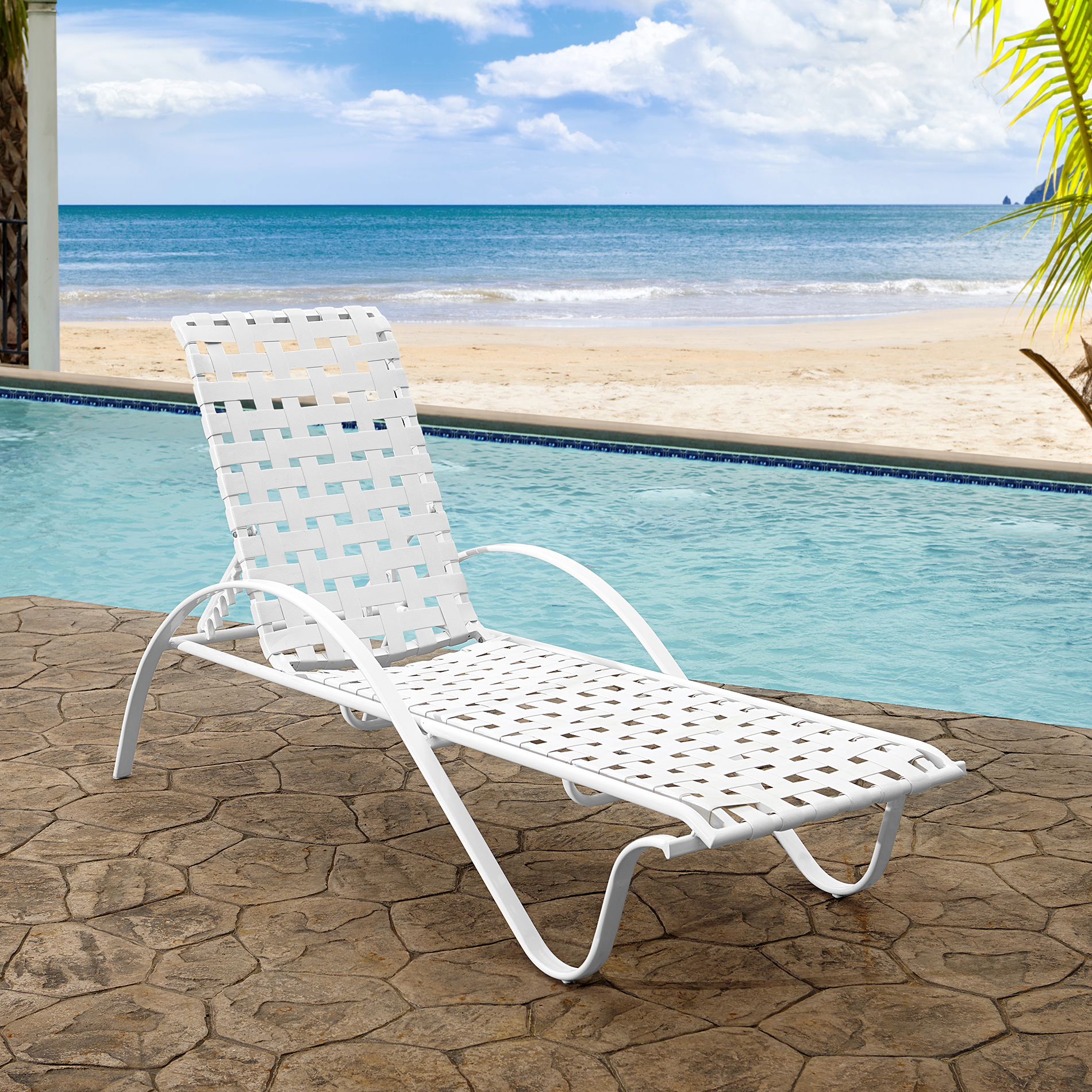 Grand Resort Commercial Basket Weave Chaise Lounge White   2 Pk. 1