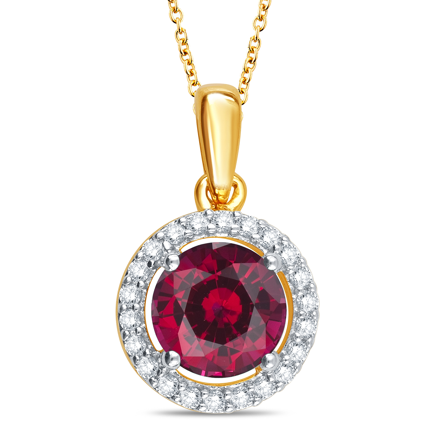 Created Ruby and Created White Sapphire Gold over Silver Pendant, Red im test
