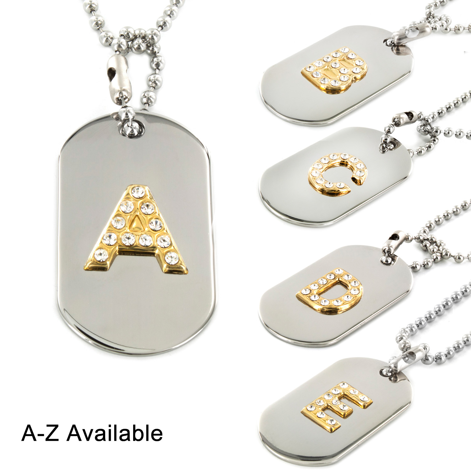Two-tone Clear Crystal Letter 'Q' Initial Dog Tag Necklace