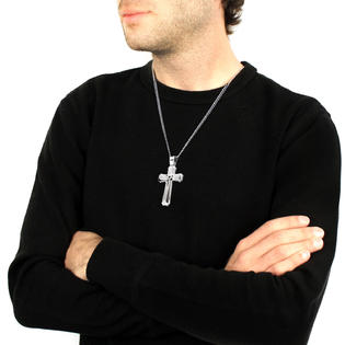 Crucible stainless steel mens large cross pendant with 24 inches crucible stainless steel mens large cross pendant with 24 inches curb chain aloadofball Gallery