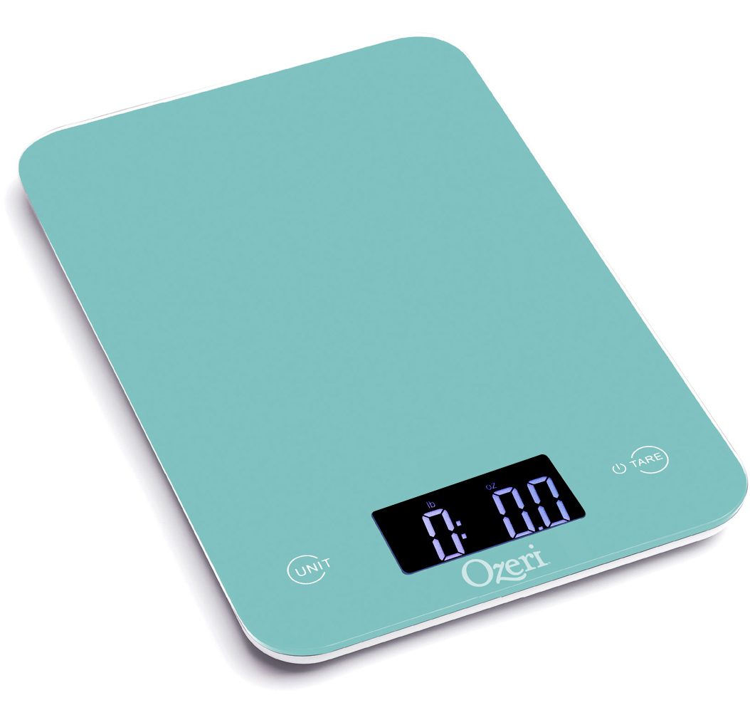 Ozeri Ozeri Touch Professional Digital Kitchen Scale (12 lbs Edition), Tempered Glass in Teal Blue PartNumber: 00814038000P KsnValue: 2048673 MfgPartNumber: ZK13-T