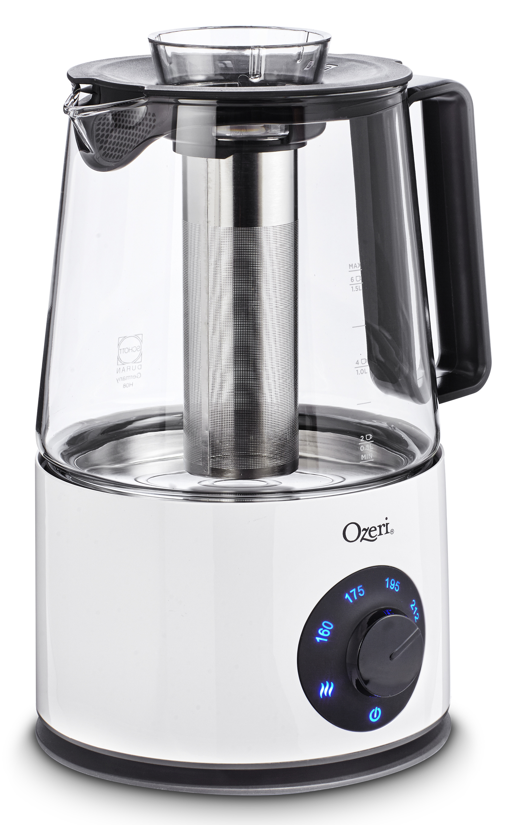 Ozeri OZTK1 Induction 1.5 L Tea Maker and Cordless Kettle, with Tea Infuser Sieve and SHOT Borosilicate Glass Carafe from Germany PartNumber: 00828365000P KsnValue: 3070756 MfgPartNumber: OZTK1
