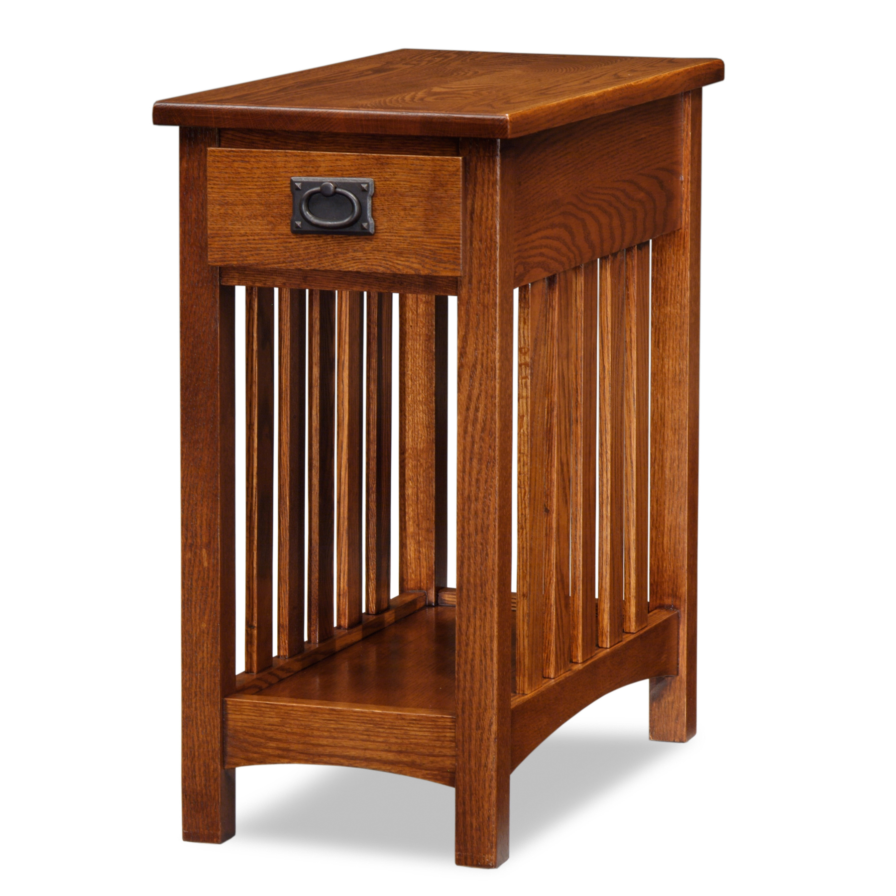 Image of Leick 8202 Mission End Table with Shelf - Medium Oak, Brown