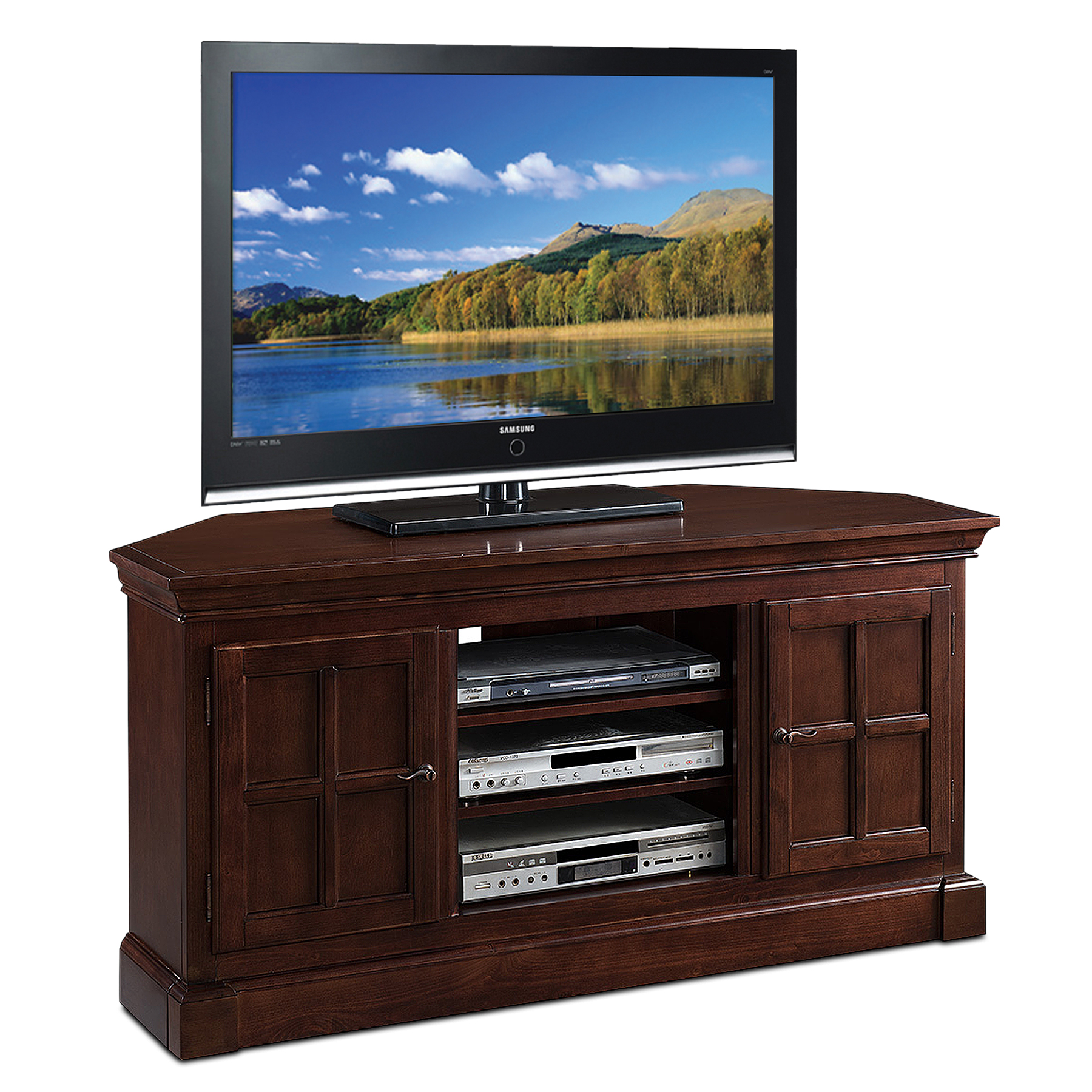 "Image of ""Leick Bella Madison Two Door 52"""" Corner TV Stand, Brown"""