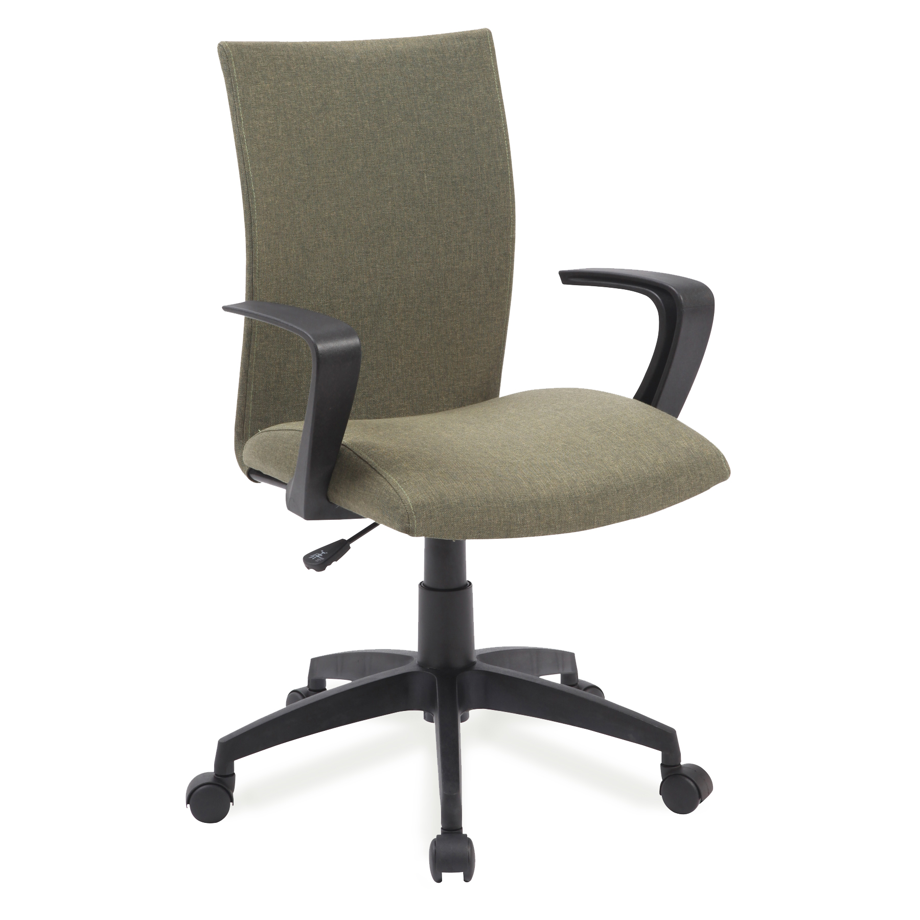 Sage Green Linen Apostrophe Office Chair with Black Caster Base