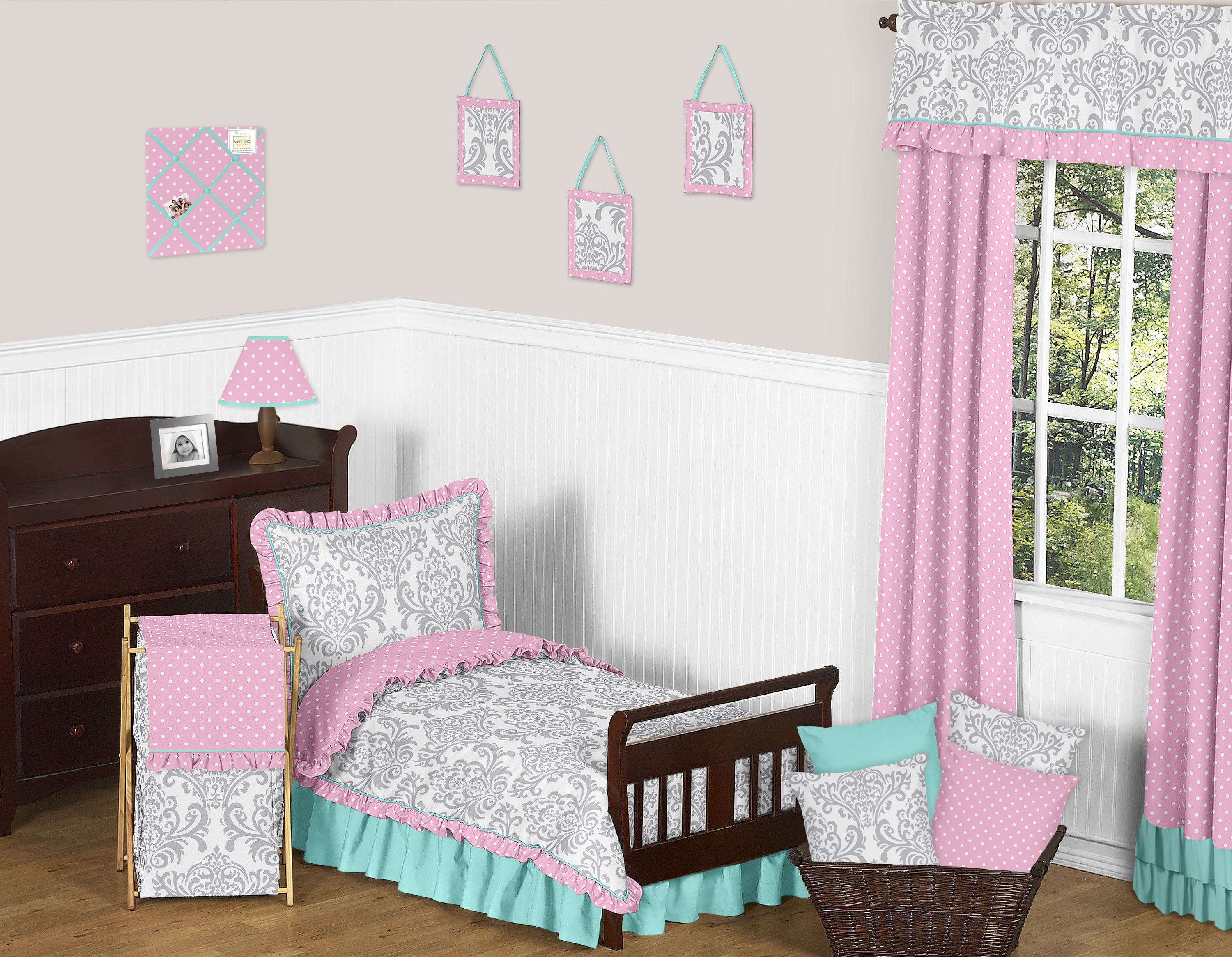 Sweet Jojo Designs Pink Gray and Turquoise Skylar Toddler Bedding 5pc Girls Set by Sweet Jojo Designs