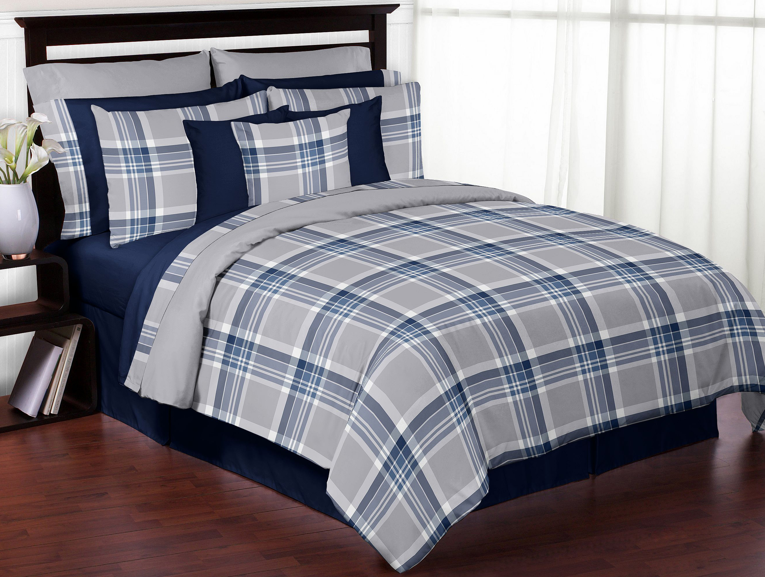 Navy Blue and Gray Plaid 3pc Full/Queen Bedding Set by Sweet Jojo Designs