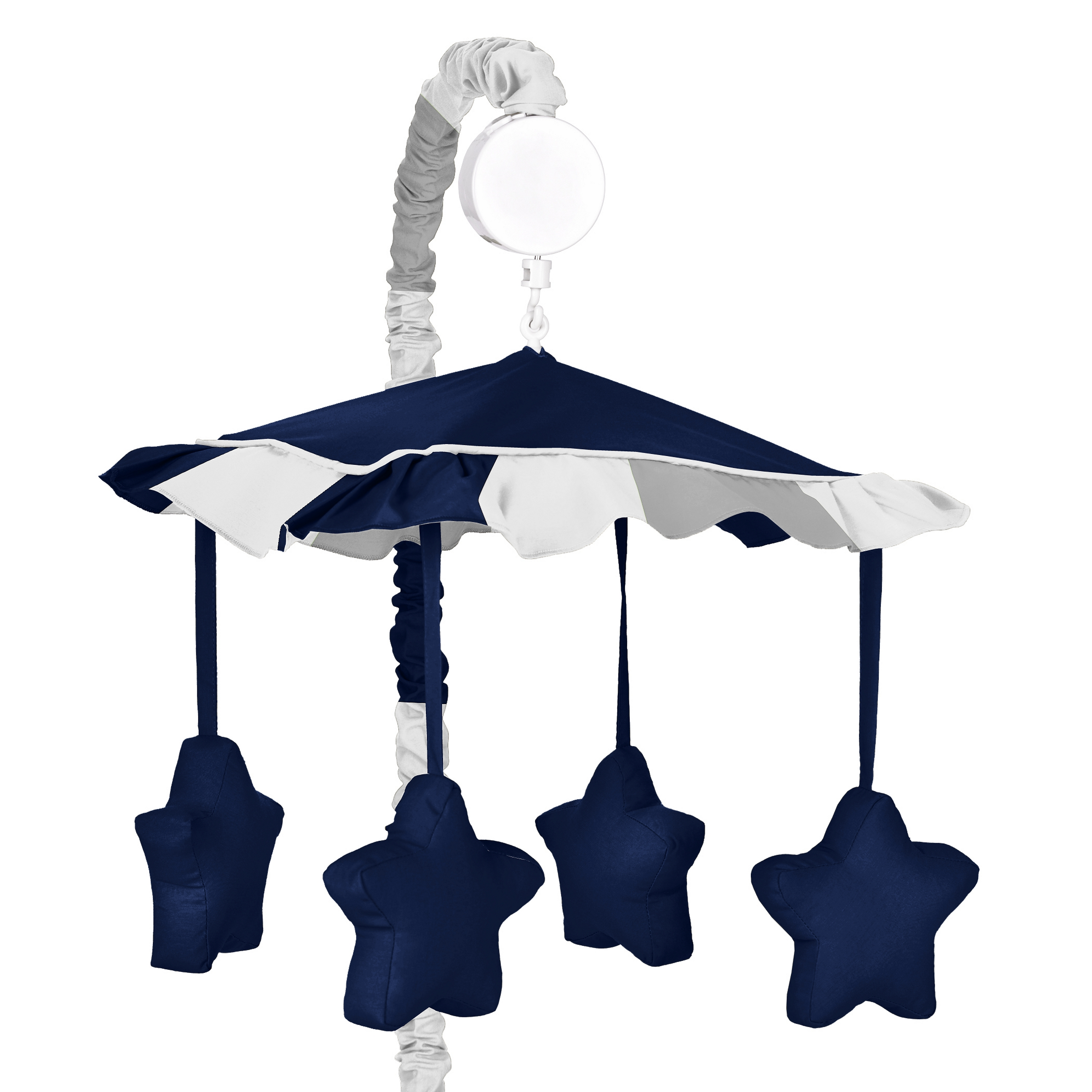 Navy Blue and Gray Stripe Collection Musical Mobile by Sweet Jojo Designs