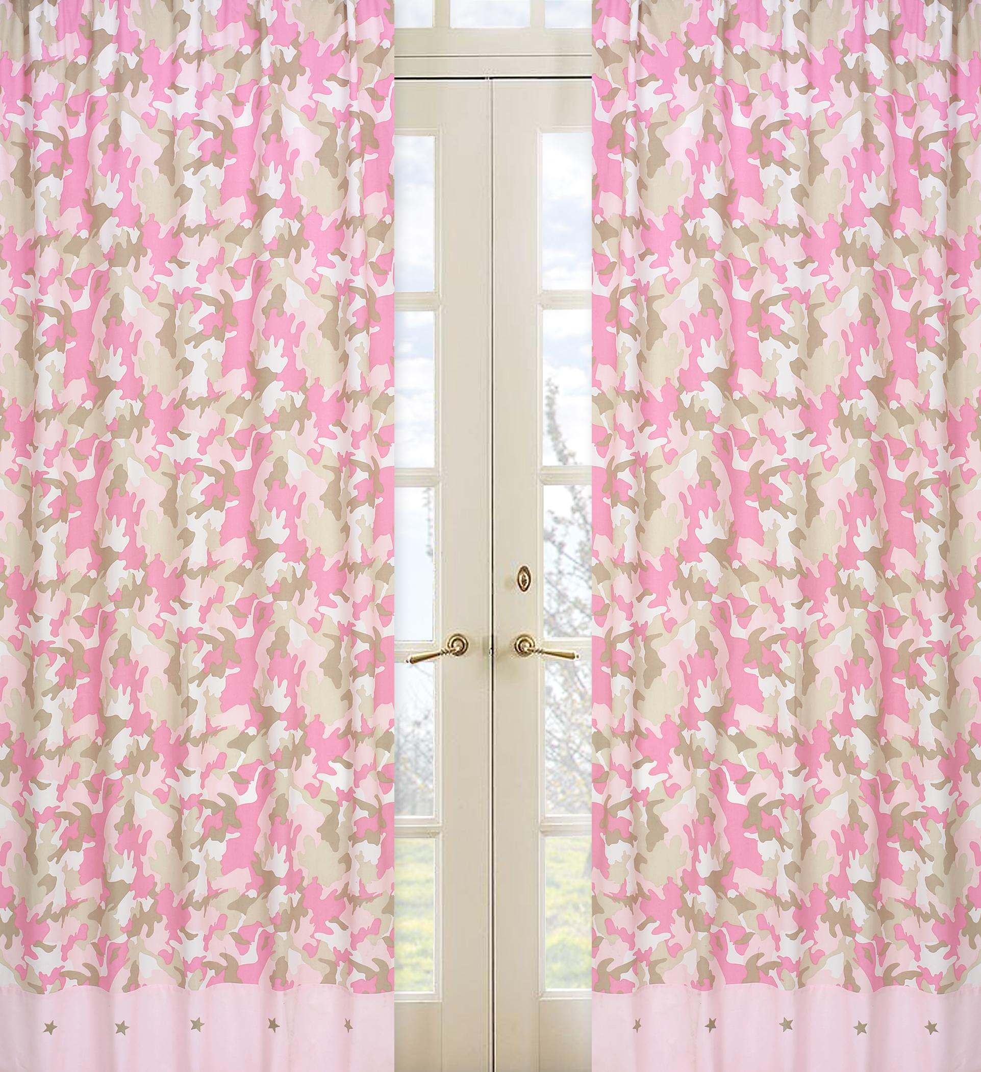 Sweet Jojo Designs Camo Pink Collection Window Panels