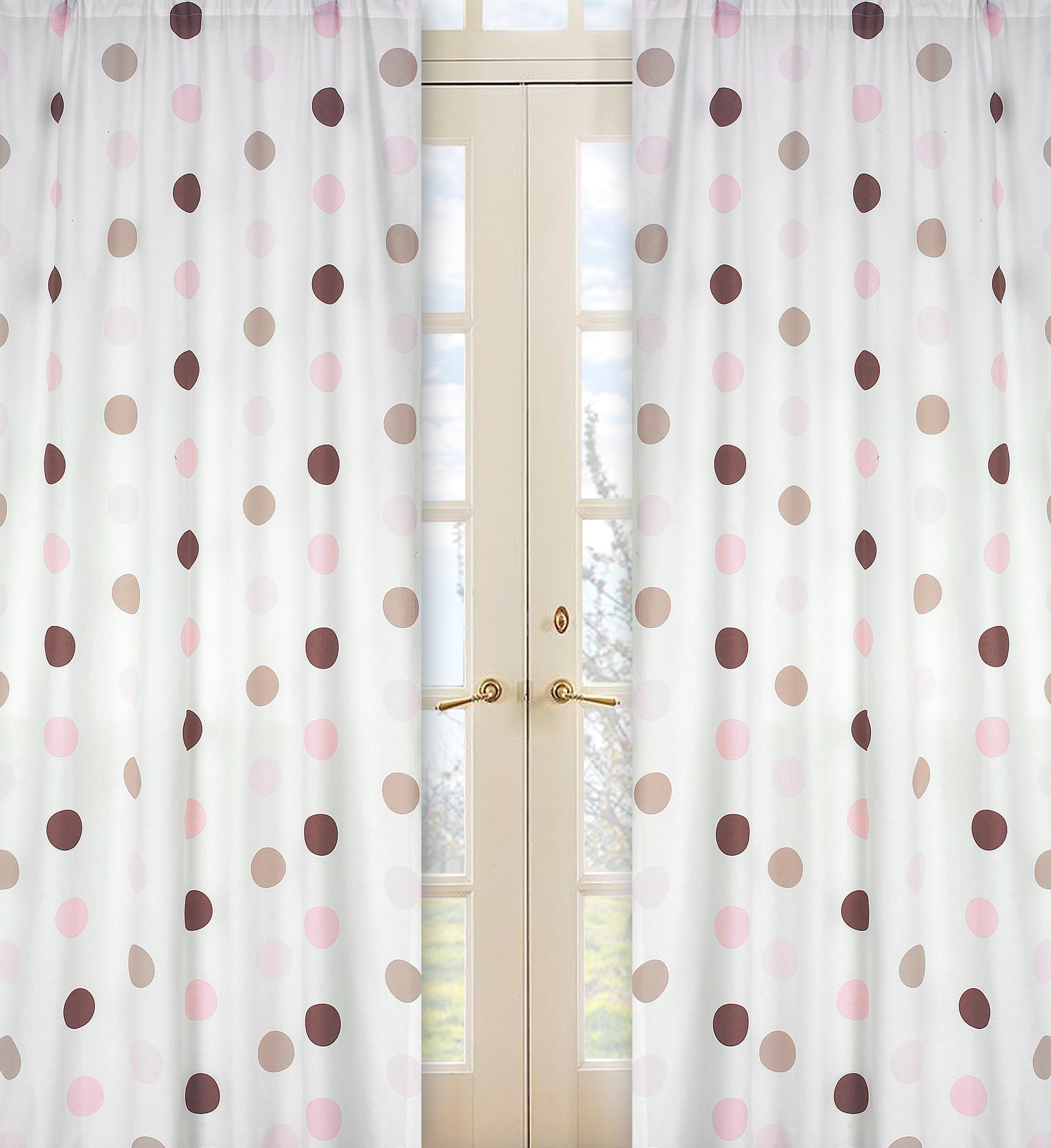 Sweet Jojo Designs Mod Dots Pink Collection Window Panels