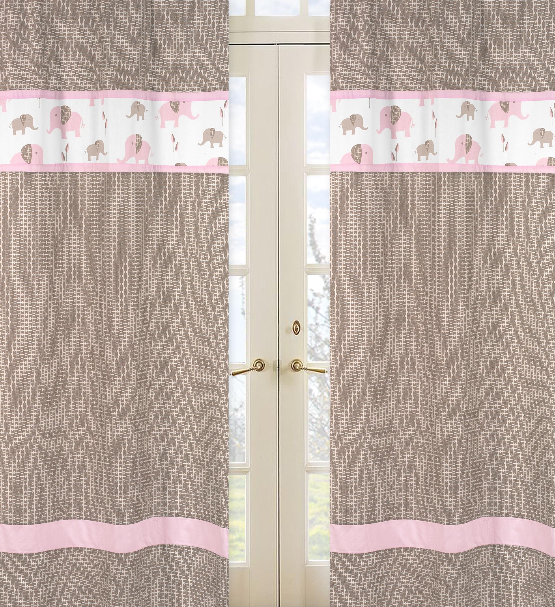 Sweet Jojo Designs Elephant Pink Collection Window Panels