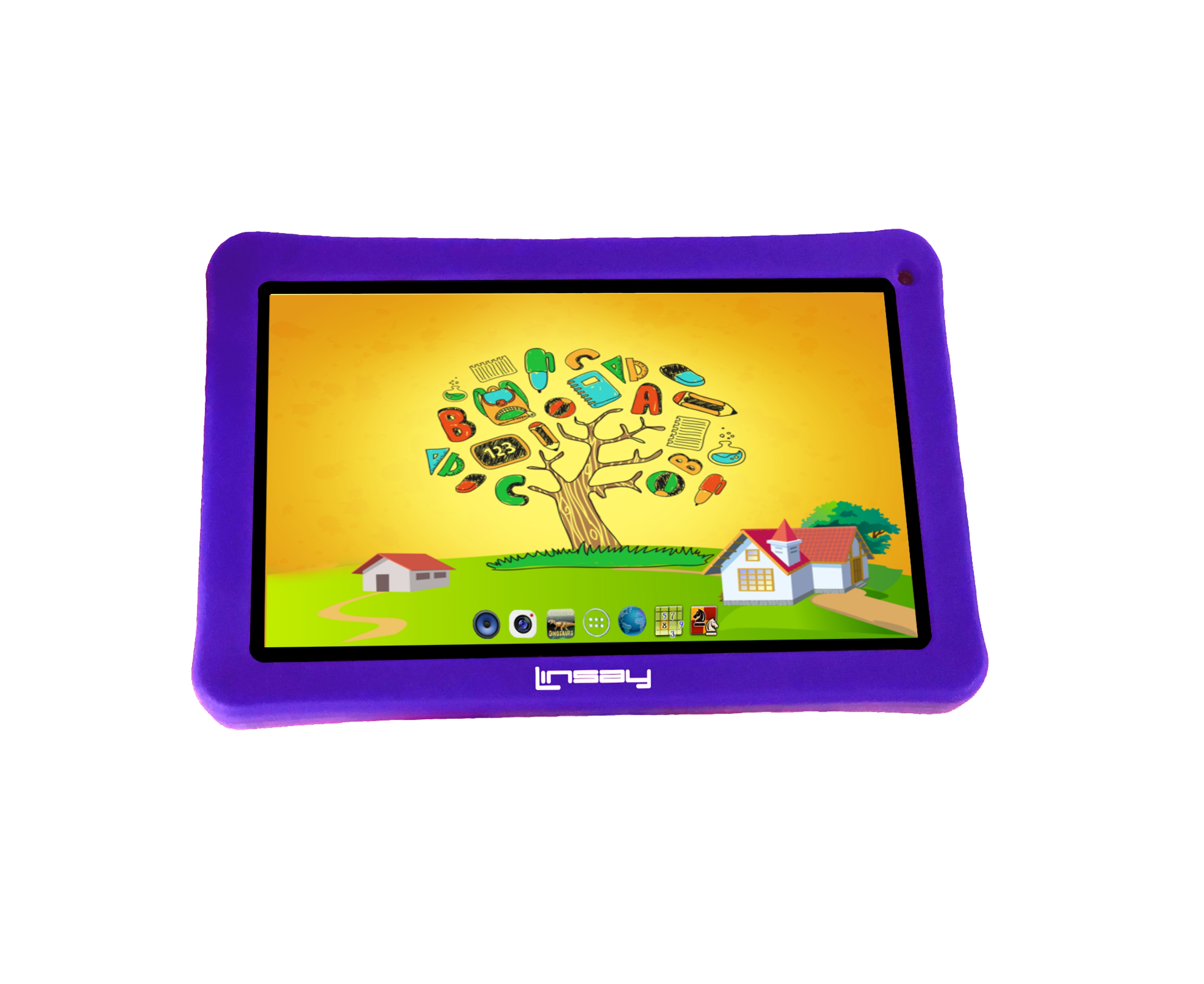 LINSAY 7'' NEW QUAD CORE KIDS FUNNY TAB w PURPLE DEFENDER CASE 1024 x 600 HD 8GB DUAL CAMERA Android ...