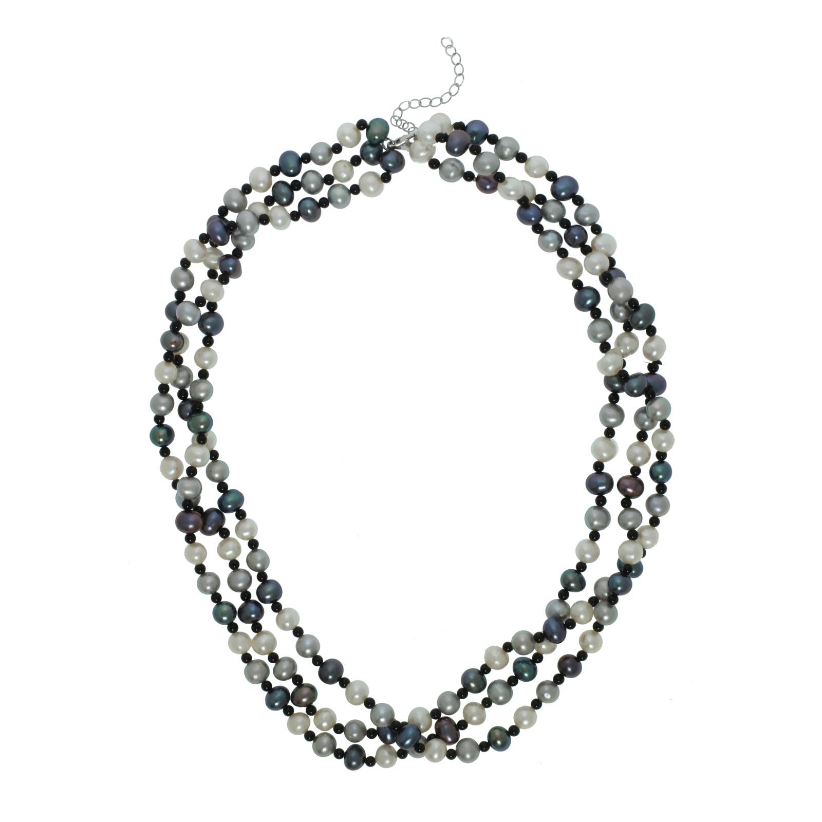 "Multi Tonal Black Freshwater Pearl  & Black Onyx Three Row Pearl Sterling Silver 18"" Necklace PartNumber: 00473535000P KsnValue: 9191436 MfgPartNumber: LT11098"