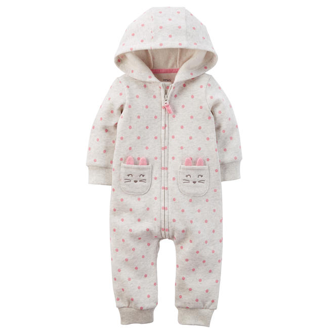 dfbd70b38828 Carter s Baby Girls  Hooded Fleece Jumpsuit - Polka Dot