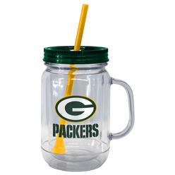 Nfl Mason Jar Gl With Lid Straw Green Bay Packers