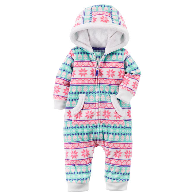 07ffb0e93cad Carter s Infant Girls  Hooded Jumpsuit - Fair Isle