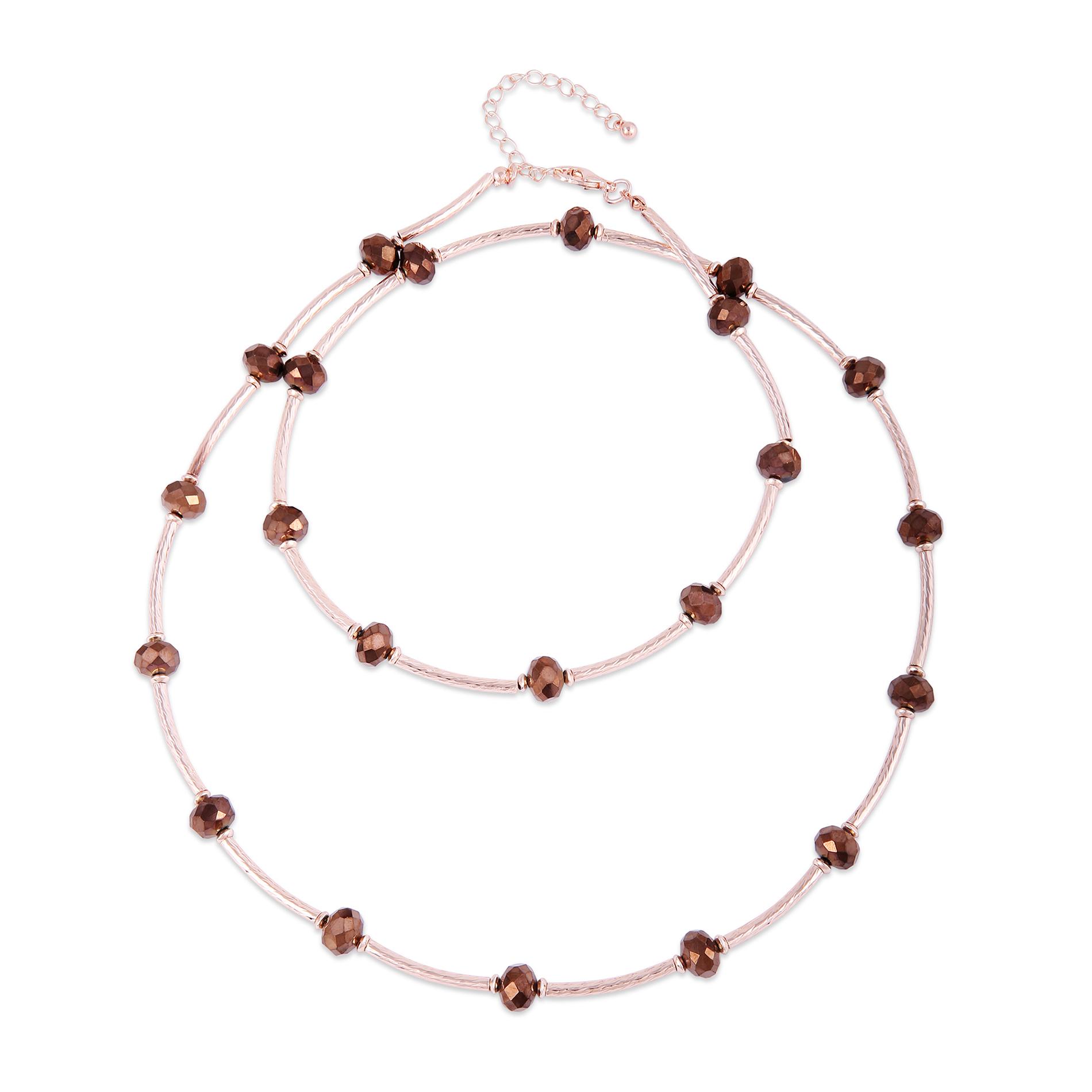 waterbury garment Rondelle Embellished Long Necklace, Metallic/ Rose gold tone im test