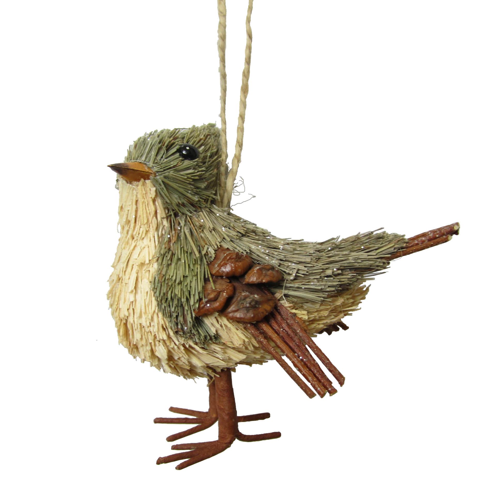 "Jaclyn Smith 3"" Sisal Bird Christmas Ornament PartNumber: 009W007688464002P KsnValue: 7688464 MfgPartNumber: S09150-KRE"