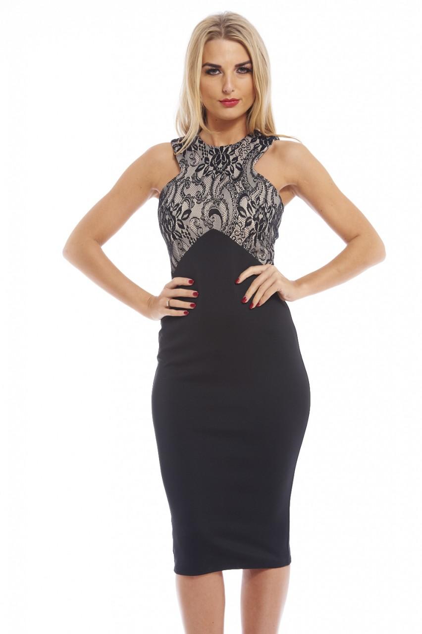 AX Paris Women's Bonded Lace Contrast Black Stone Dress - Online Exclusive, Size: 4 00781220001