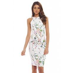 AX Paris Women's Floral Cut-In Neck Bodycon Cream Dress - Online Exclusive at Kmart.com