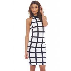 AX Paris Women's High Neck Grid Printed Midi Cream Black Dress - Online Exclusive at Kmart.com
