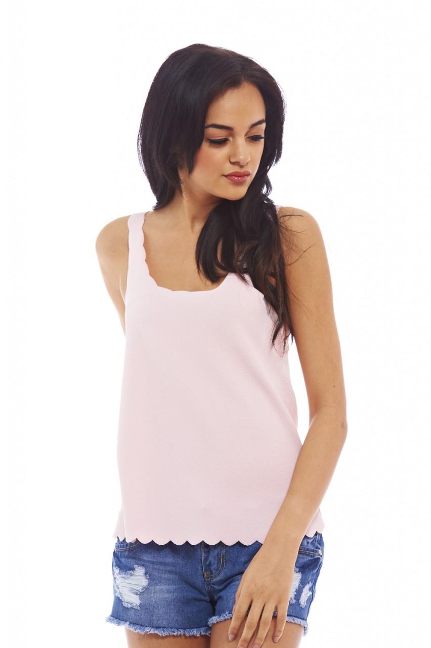 AX Paris Women's Scallop edging plain Pink Top - Online Exclusive