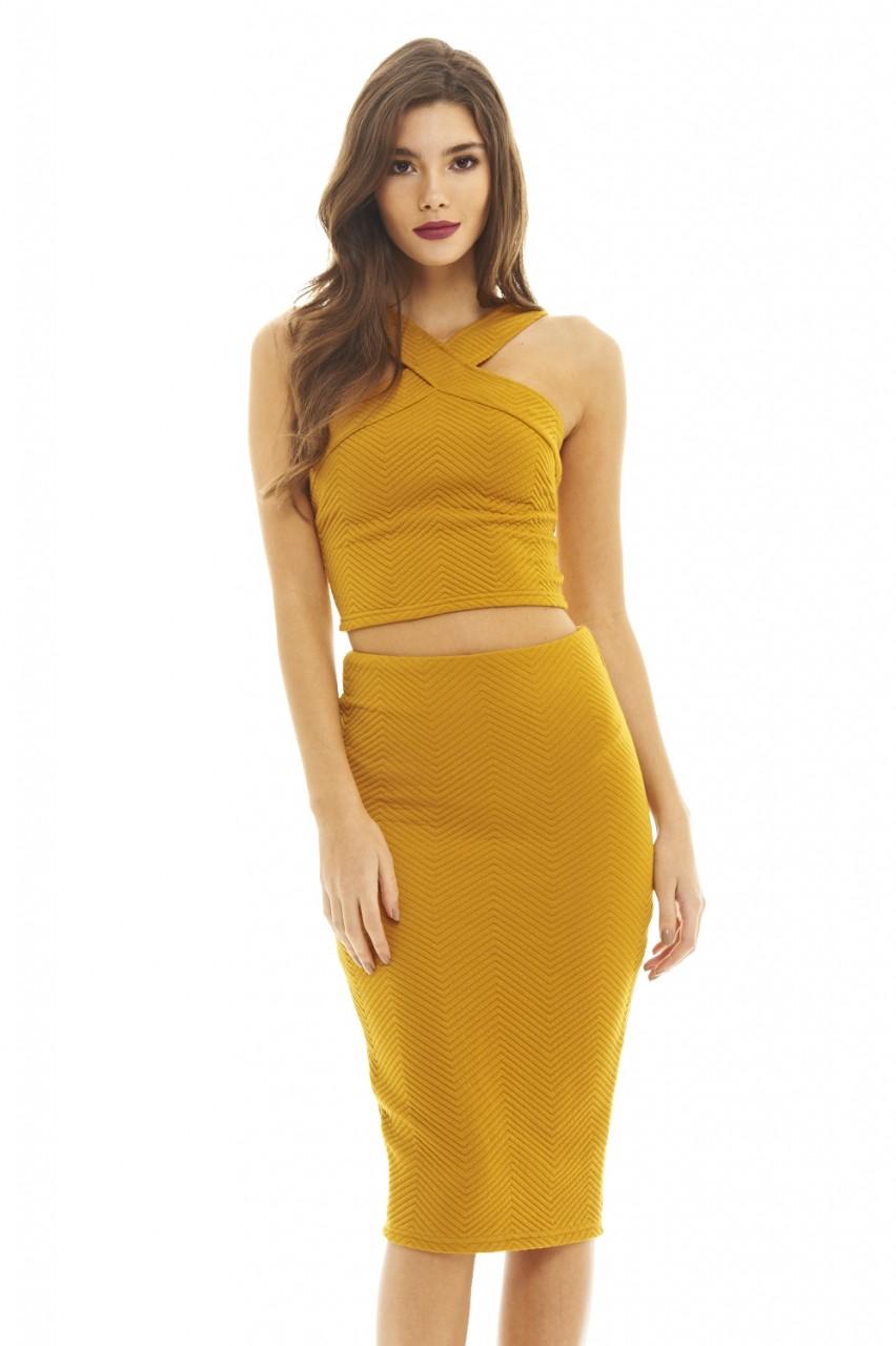 AX Paris Women's Quilted Mustard Suit - Online Exclusive