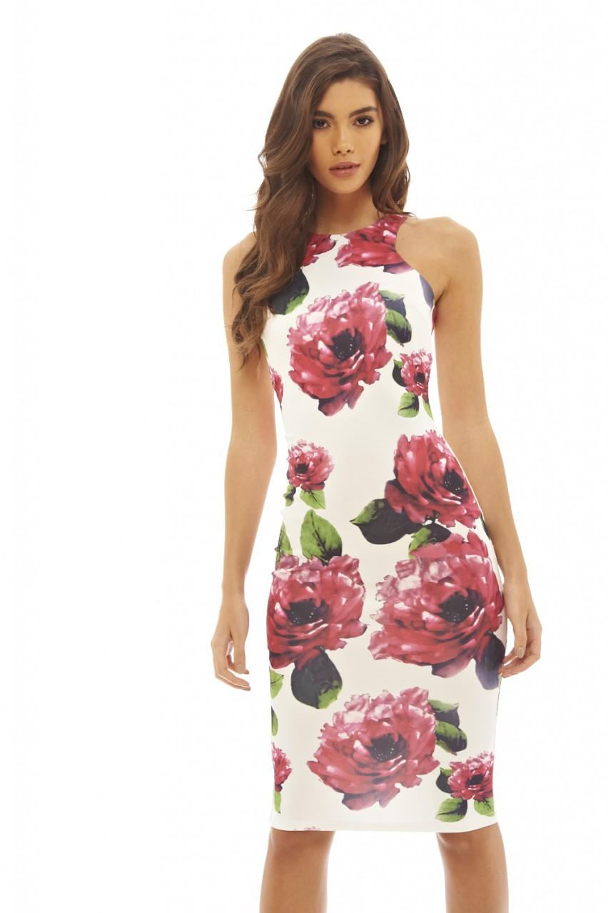 AX Paris Women's Floral Printed Bodycon Midi Cream Dress - Online Exclusive