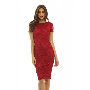 AX Paris Women's Short Sleeve Lace Midi Dress - Online Exclusive