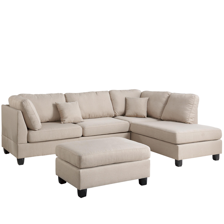 Terrific Venetian Worldwide Madrid 3 Piece Reversible Sectional Sofa In Sand W Ottoman Machost Co Dining Chair Design Ideas Machostcouk