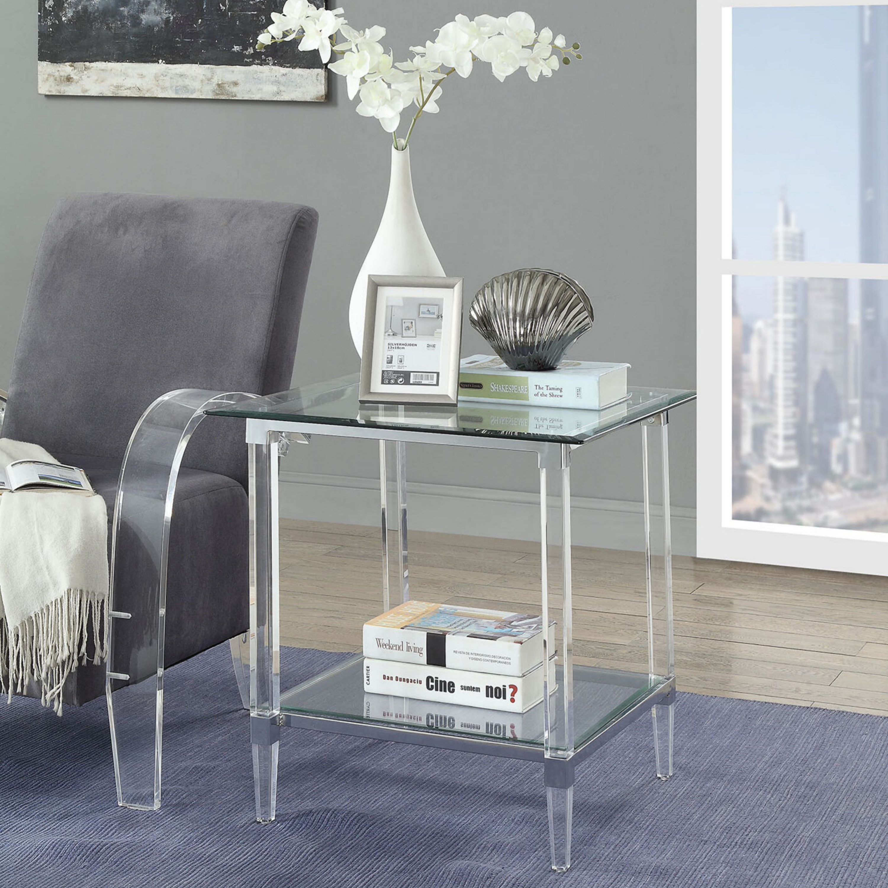 Venetian Worldwide Polyanthus End Table, Clear Acrylic, Chrome & Clear Glass, Silver