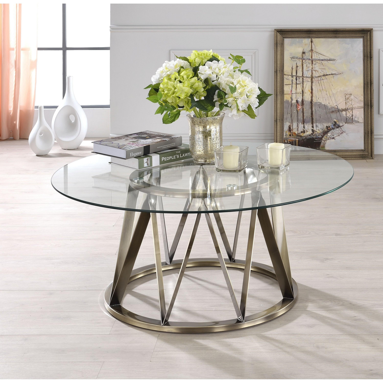 Venetian Worldwide Perjan Coffee Table, Antique Brass & Clear Glass, Brown