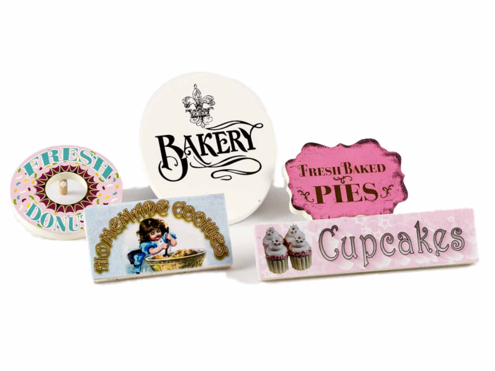 The Queen's Treasures American Bakery Shoppe Signs used with Interchangeable Shoppe Counter. 5 Bake Shop Signs. Accessories for 18 inch Girl Dolls PartNumber: 05258715000P KsnValue: 8398352 MfgPartNumber: AGBKSIGN