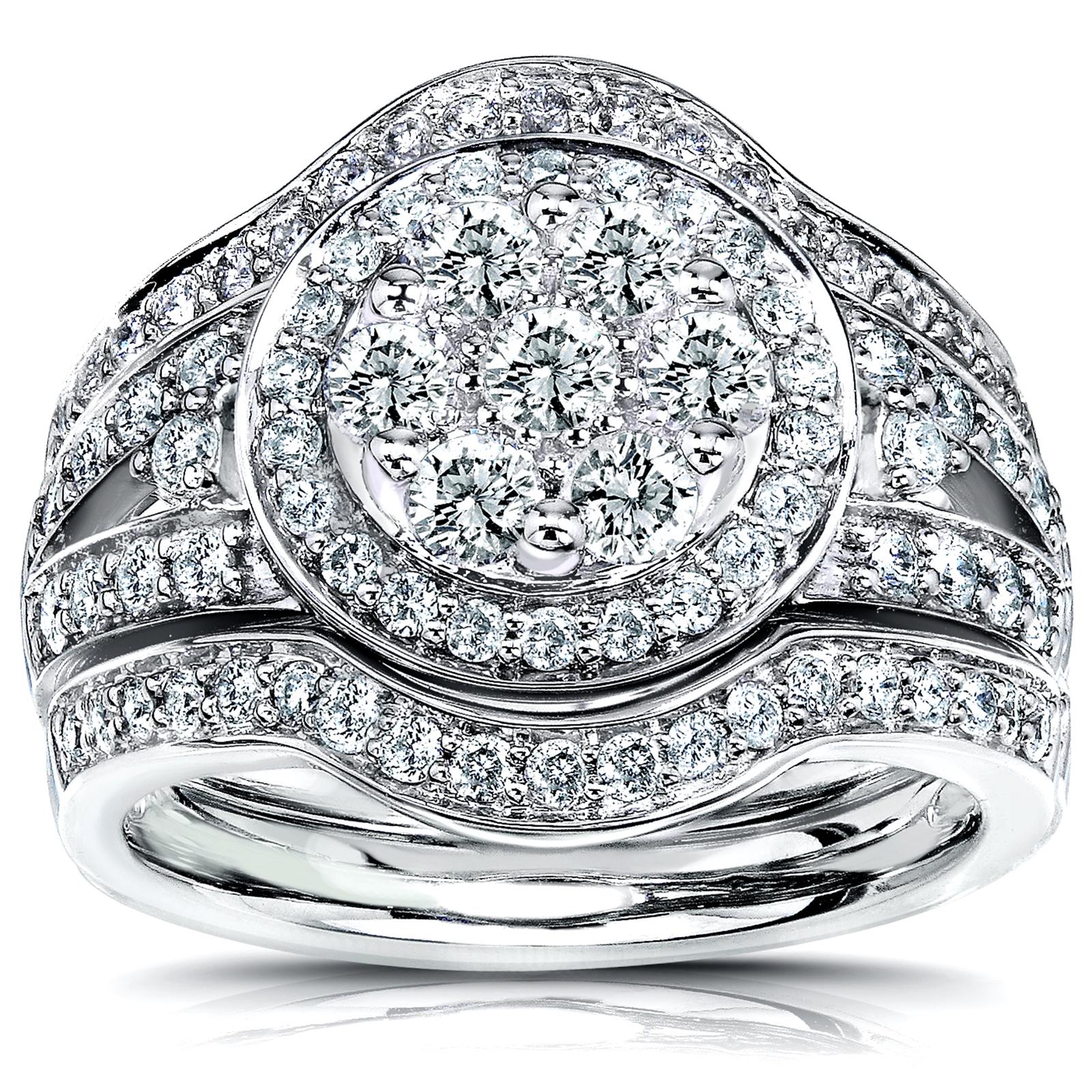 Kobelli 1 1/5 Carat (ct.tw) Round Diamond Halo Cluster 3-Piece Bridal Rings Set in 14K White Gold PartNumber: 3ZZVA96857912P MfgPartNumber: 61153WS-2B