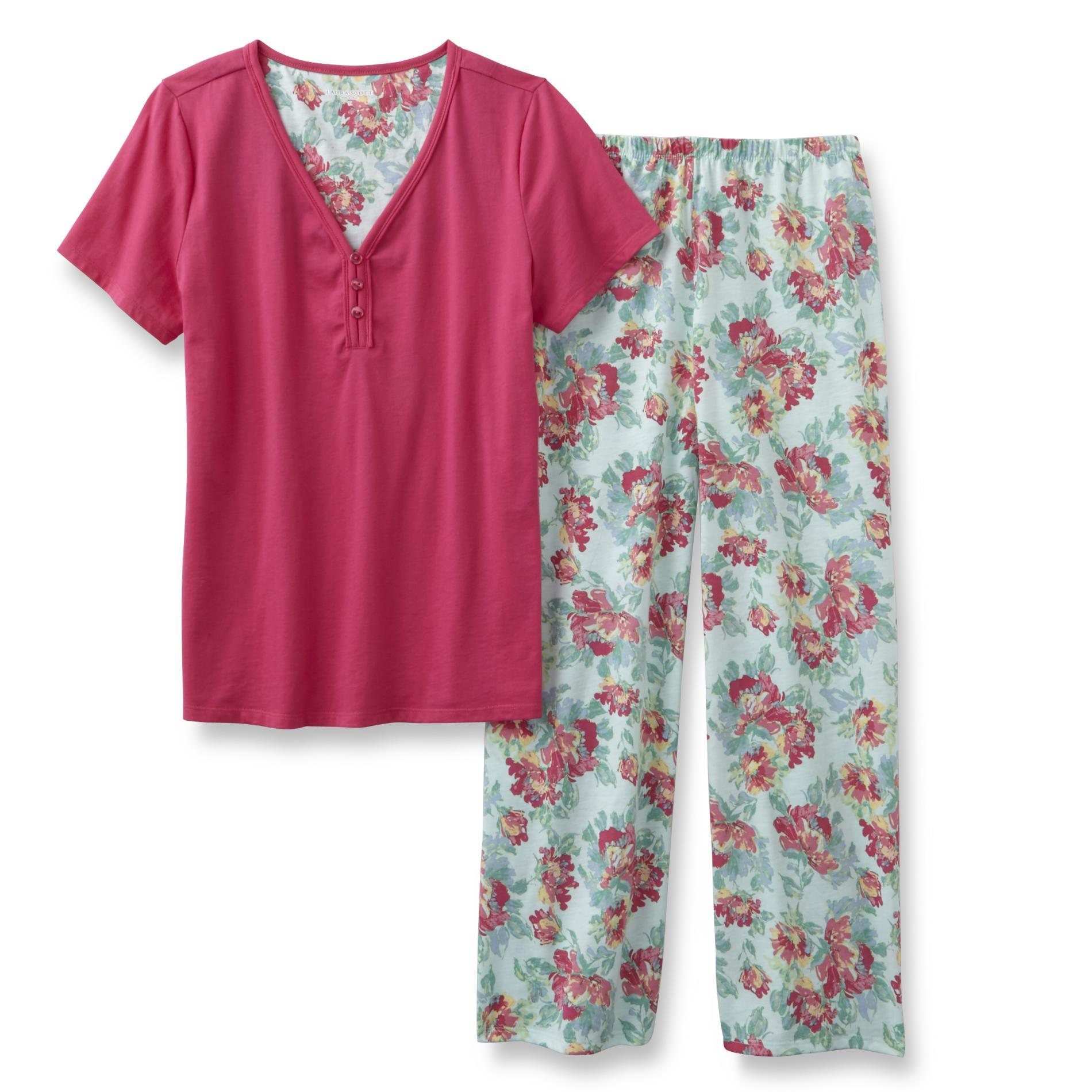 Laura Scott Women's Pajama Top & Capri Pants - Floral