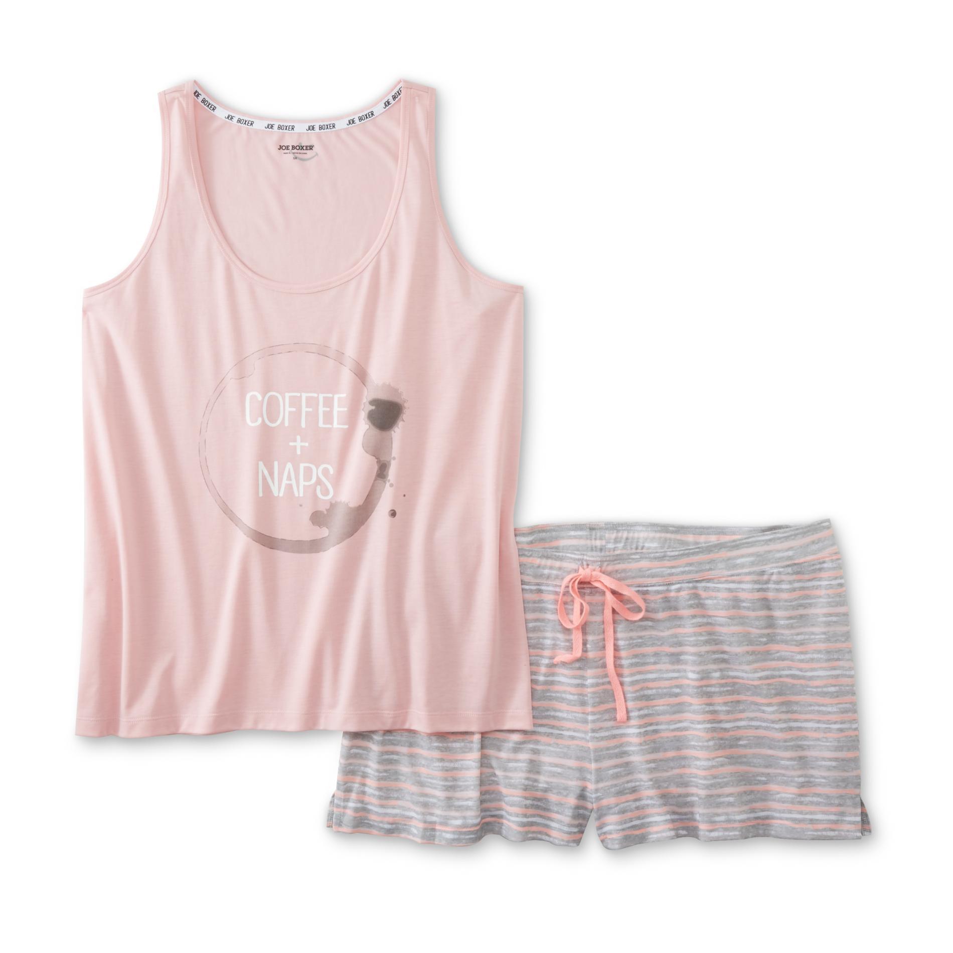 Joe Boxer Women's Plus Pajama Tank Top & Shorts - Coffee & Naps