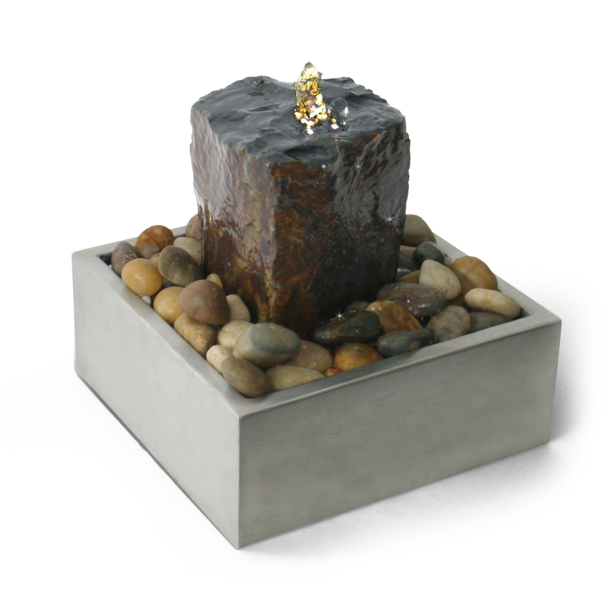 Algreen Products Table Top Fountain - Stainless Square Basalt