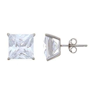Sterling Silver 10mm Princess Cut Cubic Zirconia Stud Earrings Alternate Image