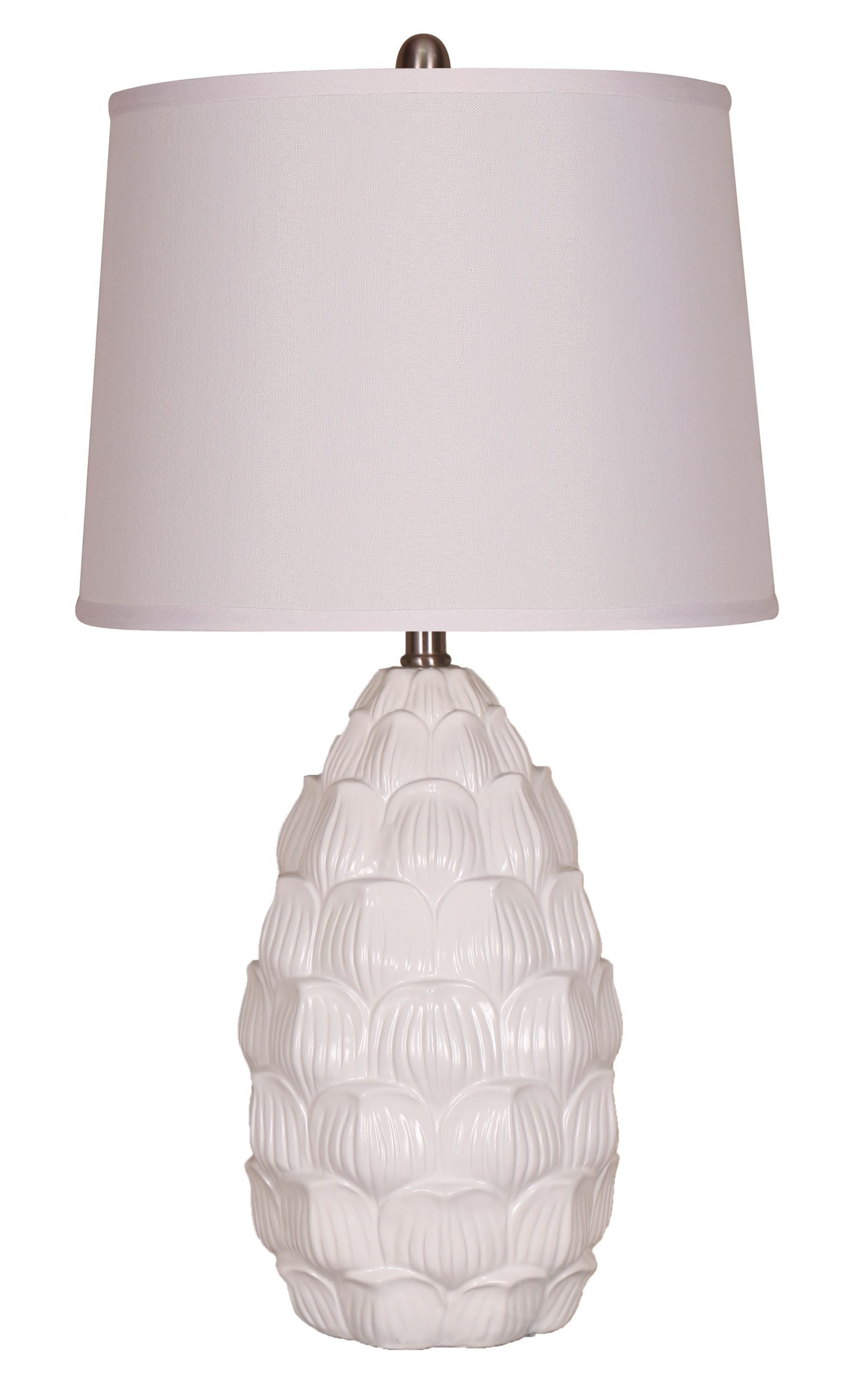 Image of Elegant Designs Resin Table Lamp with Fabric Shade, White