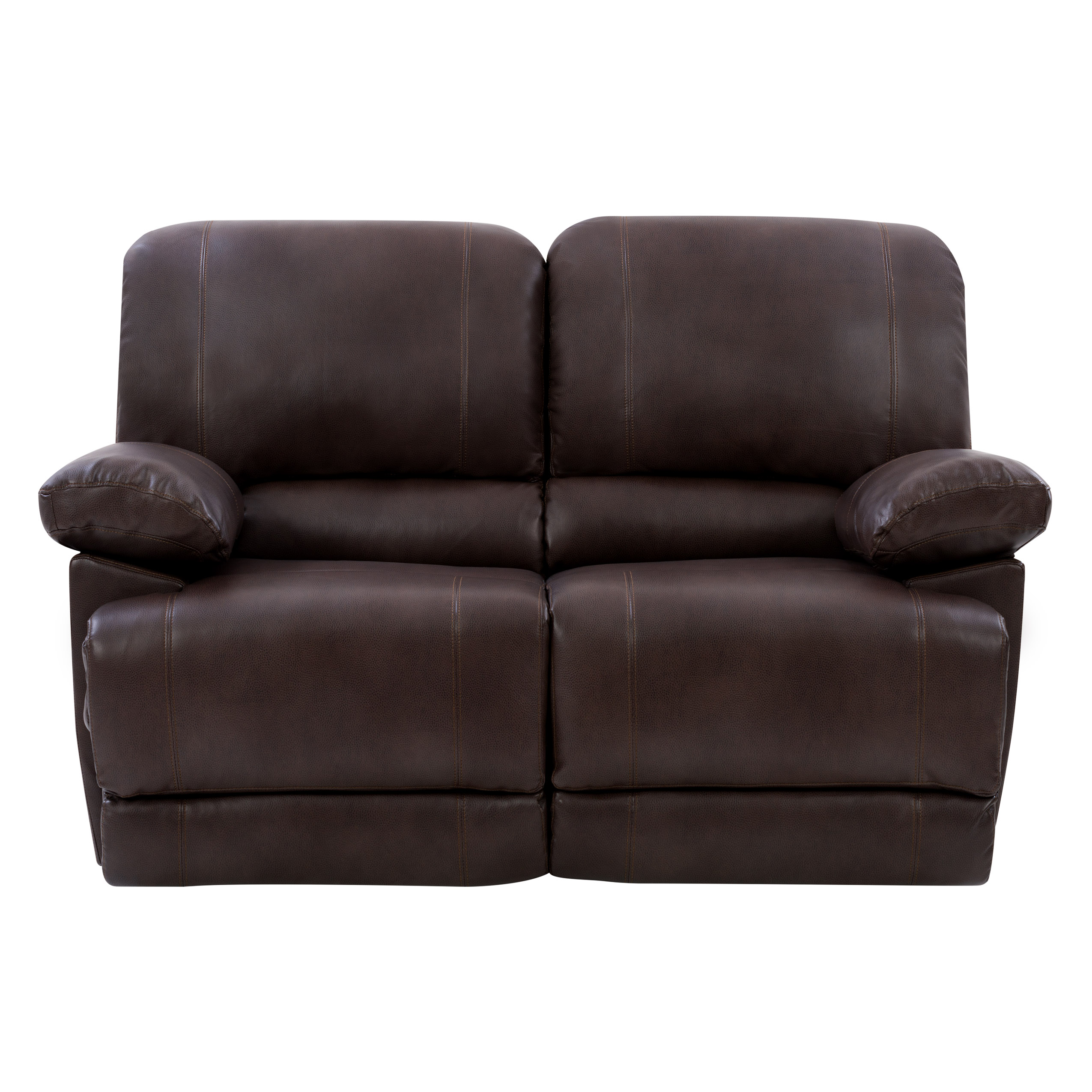 Image of CorLiving Plush Power Reclining Chocolate Brown Bonded Leather Loveseat with USB Port