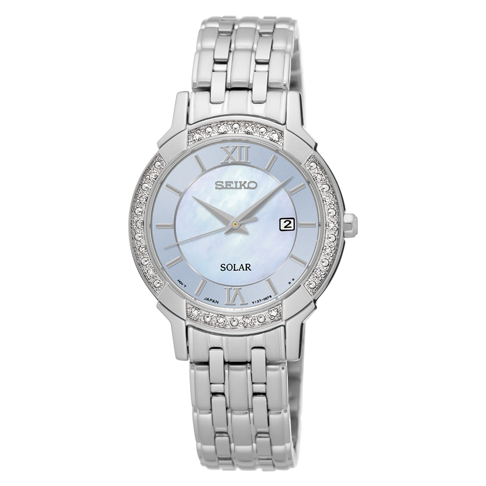 Seiko Ladies Solar Silver Tone with Mother of Pearl Dial and Diamond Accents