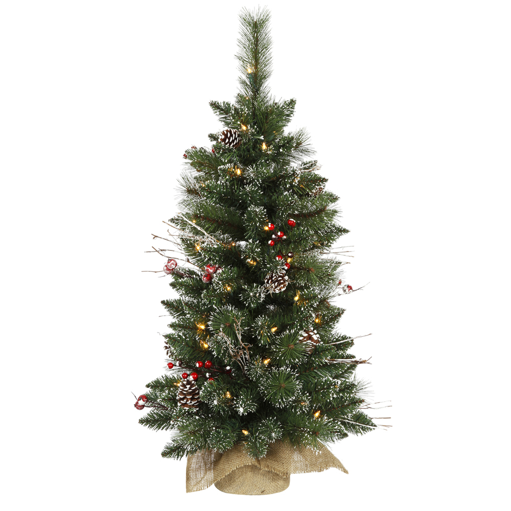 Vickerman 3' Prelit Snow Tipped Pine and Berry Artificial Christmas Tree with 50 Clear Lights