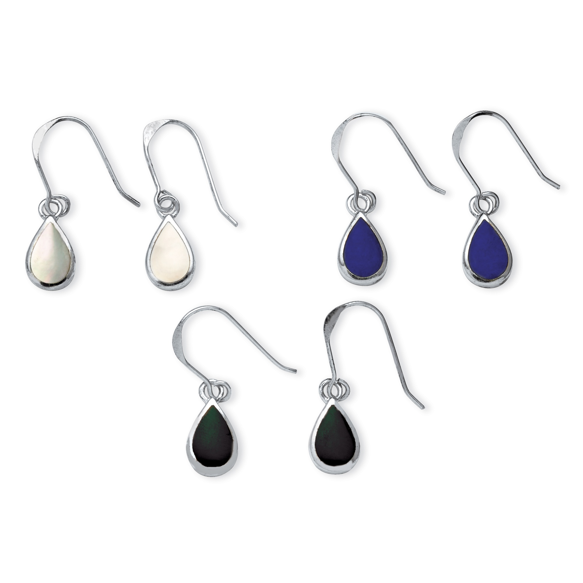 3 Pair Pear-Shaped Mother of Pearl  Onyx and Lapis Drop Earrings Set in Sterling Silver