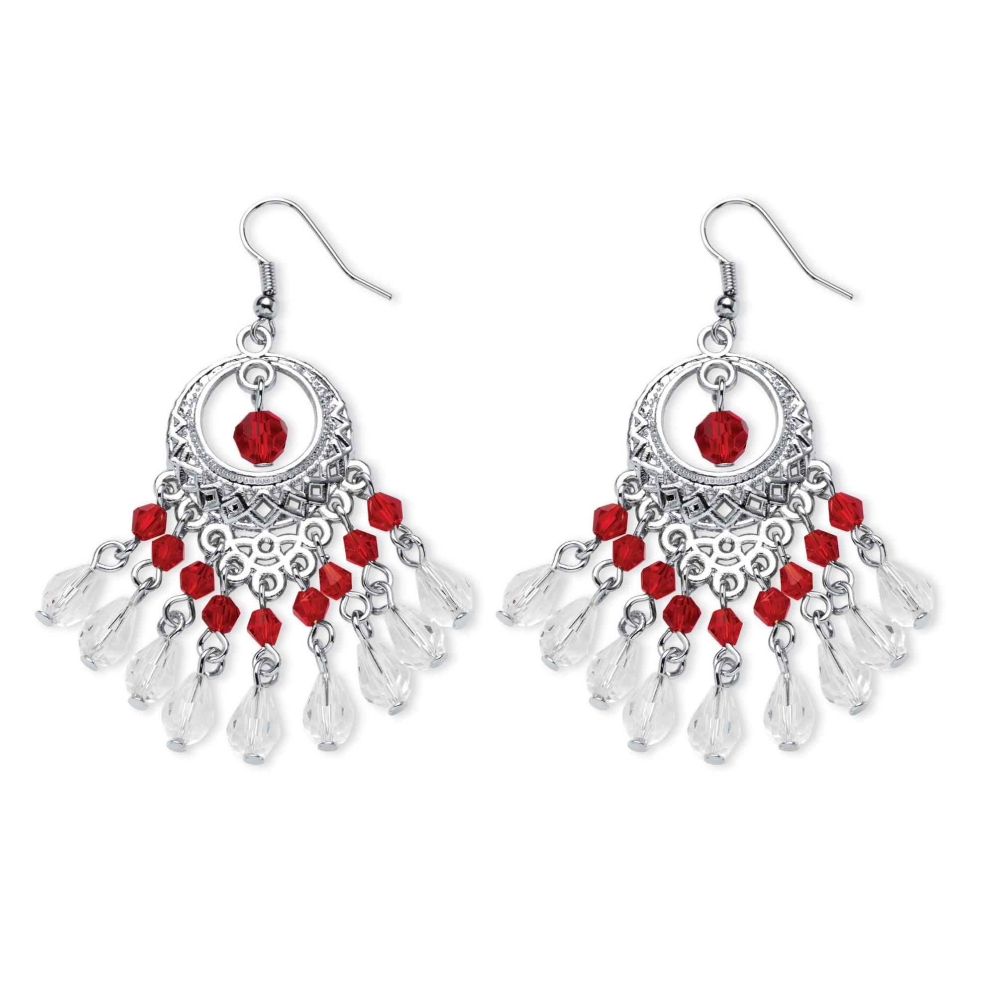 Red Crystal Chandelier Earrings in Silvertone