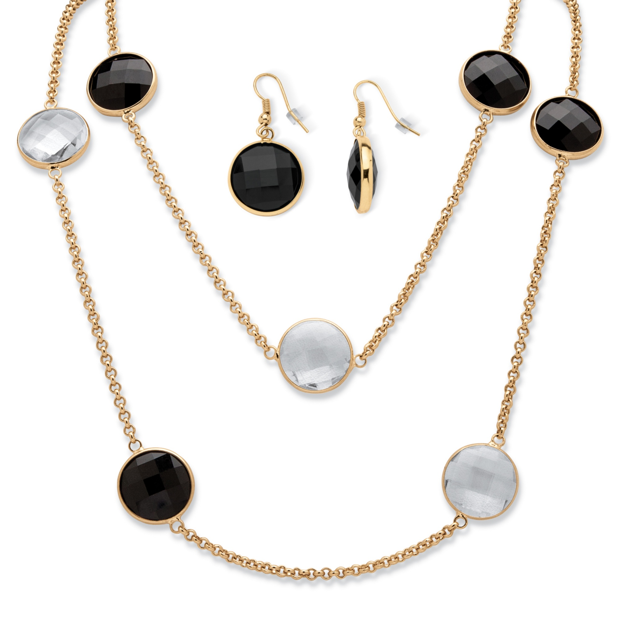 Round Checkerboard-Cut Black and White Crystal Station Necklace and Earrings Set in Gold Tone